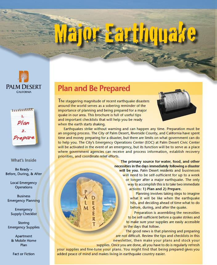 Earthquake Brochure Cover